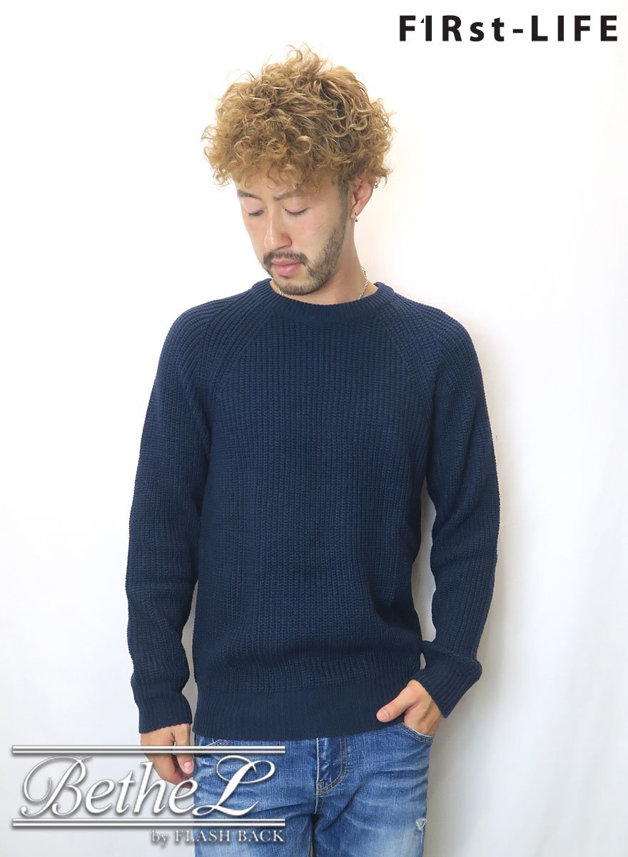 F1Rst LIFE/ファーストライフ CREW NECK COLLAR KNIT NAVY