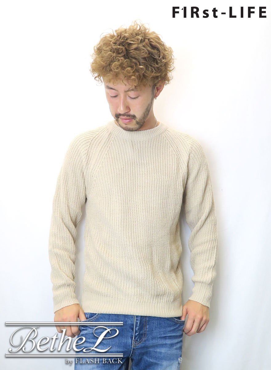F1Rst LIFE/ファーストライフ CREW NECK COLLAR KNIT BEIGE