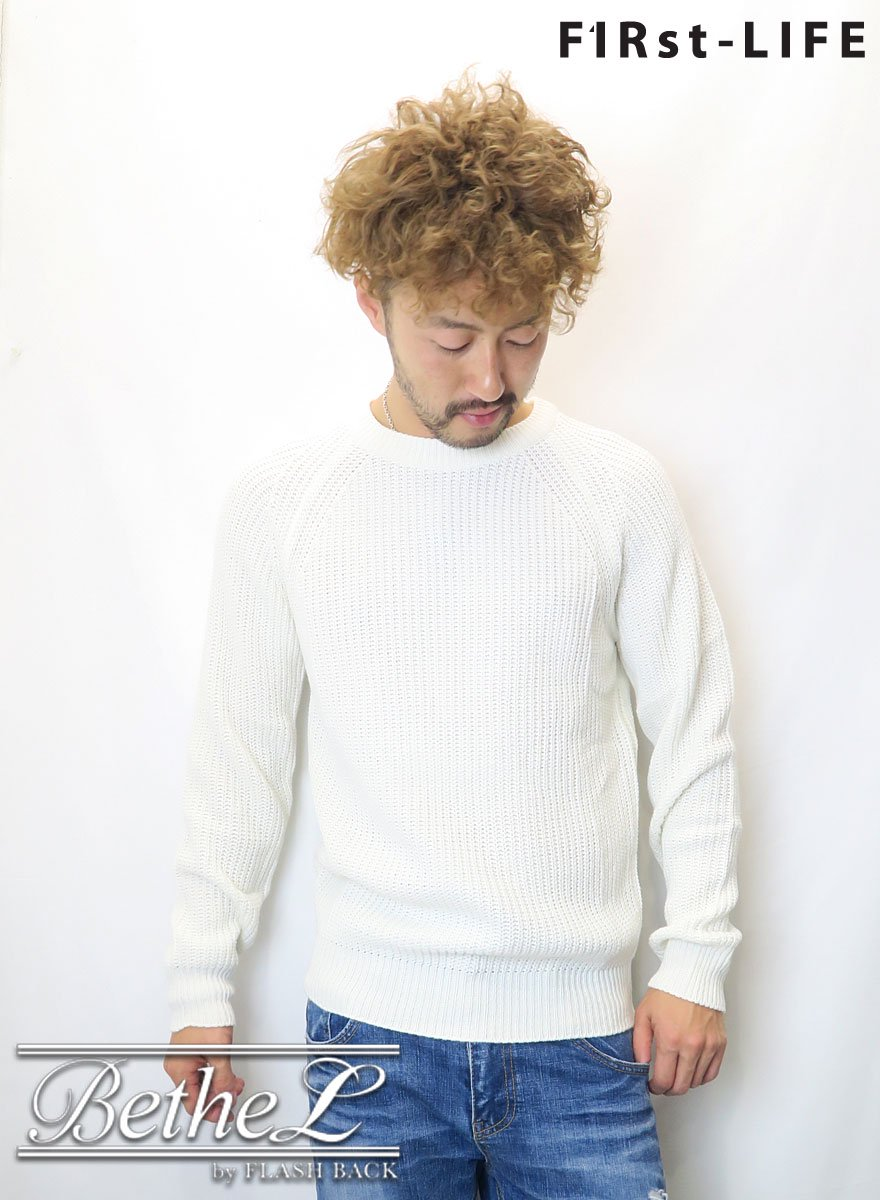 F1Rst LIFE/ファーストライフ CREW NECK COLLAR KNIT WHITE
