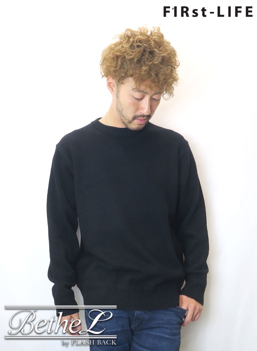 F1Rst LIFE/ファーストライフ CREW NECK WOOL KNIT BLACK