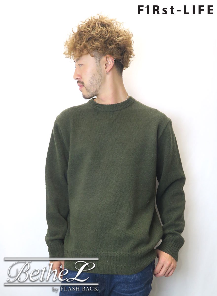 F1Rst LIFE/ファーストライフ CREW NECK WOOL KNIT KHAKI