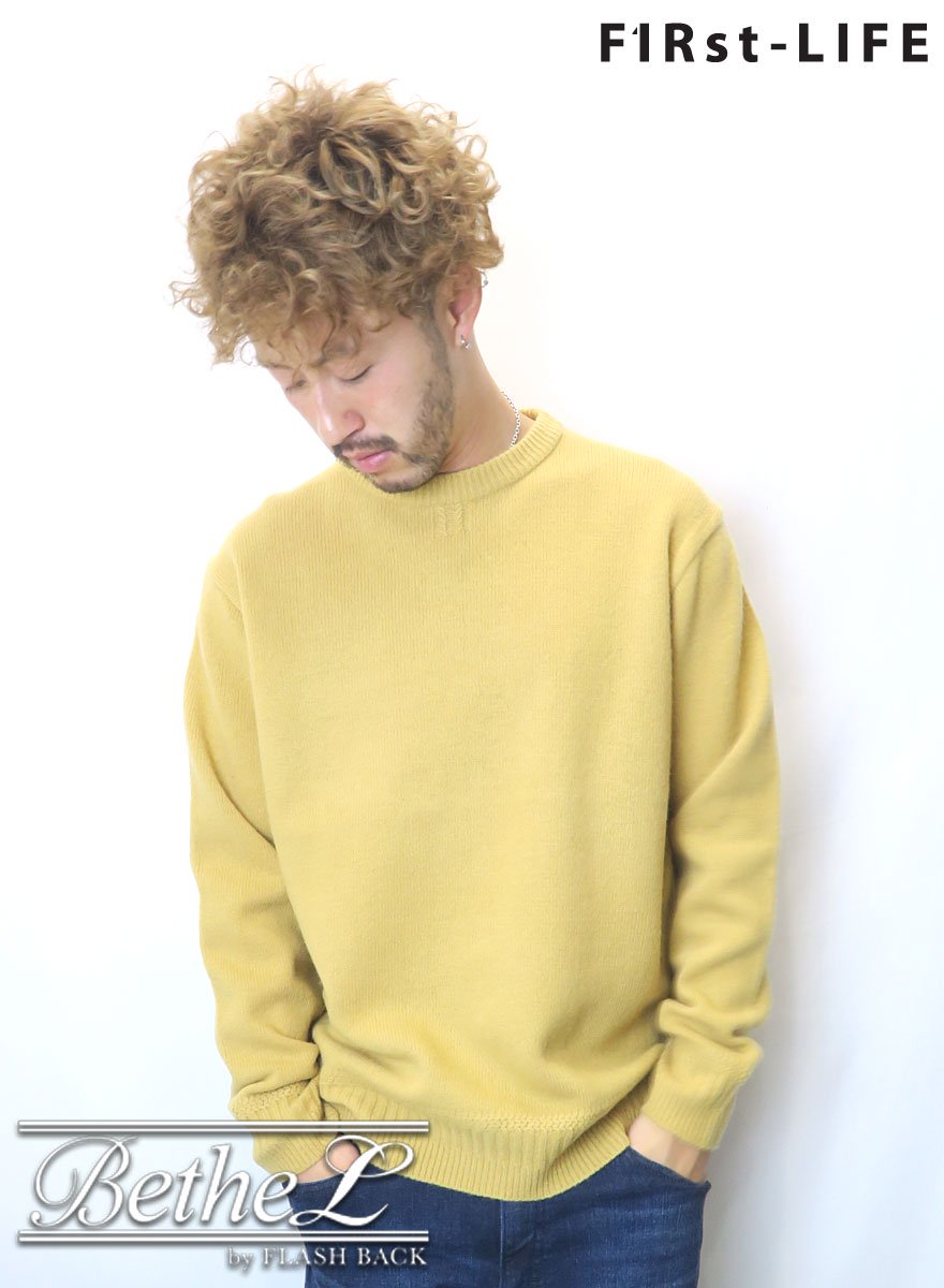 F1Rst LIFE/ファーストライフ CREW NECK WOOL KNIT YELLOW
