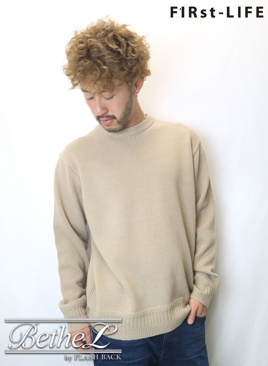 F1Rst LIFE/ファーストライフ CREW NECK WOOL KNIT BEIGE