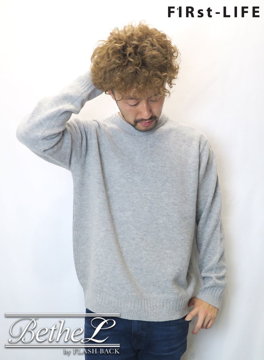 F1Rst LIFE/ファーストライフ CREW NECK WOOL KNIT GRAY