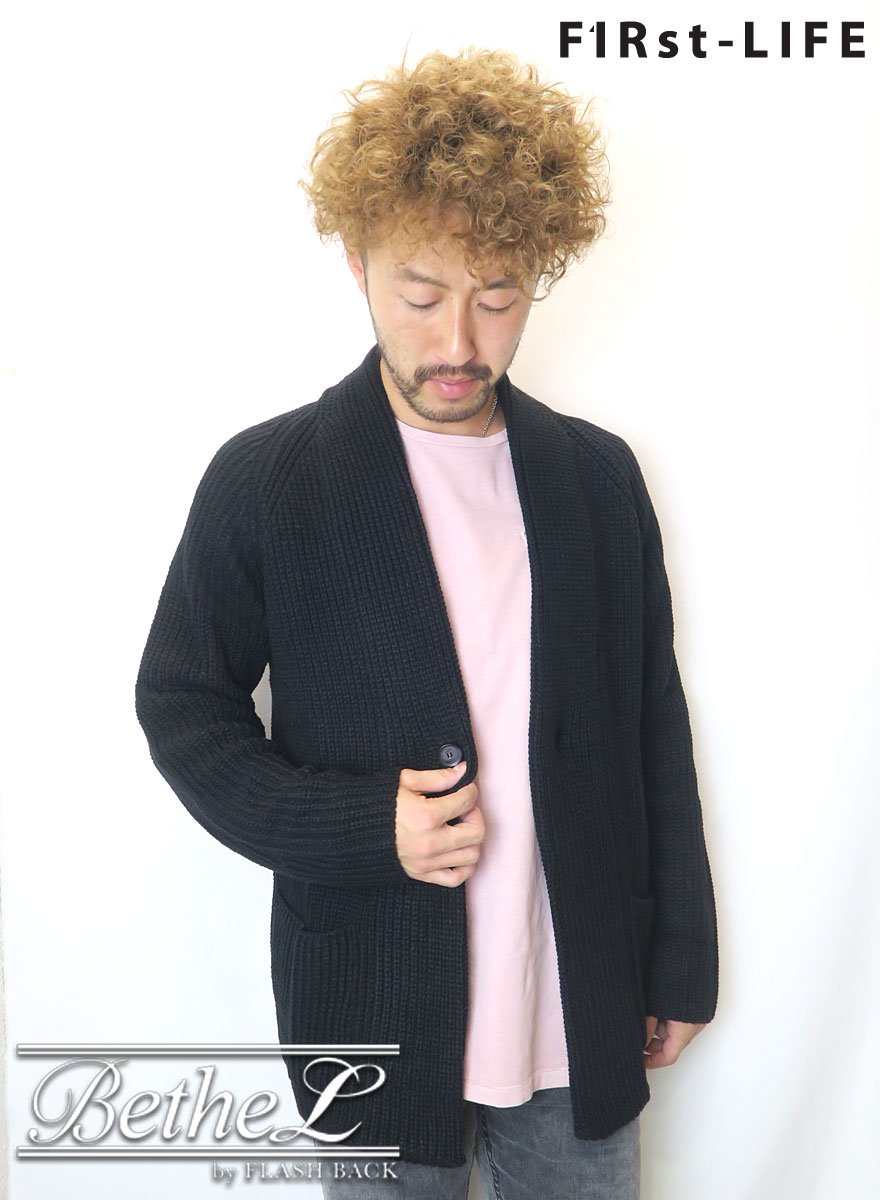 F1Rst LIFE/ファーストライフ GOWN KNIT CARDIGAN BLACK