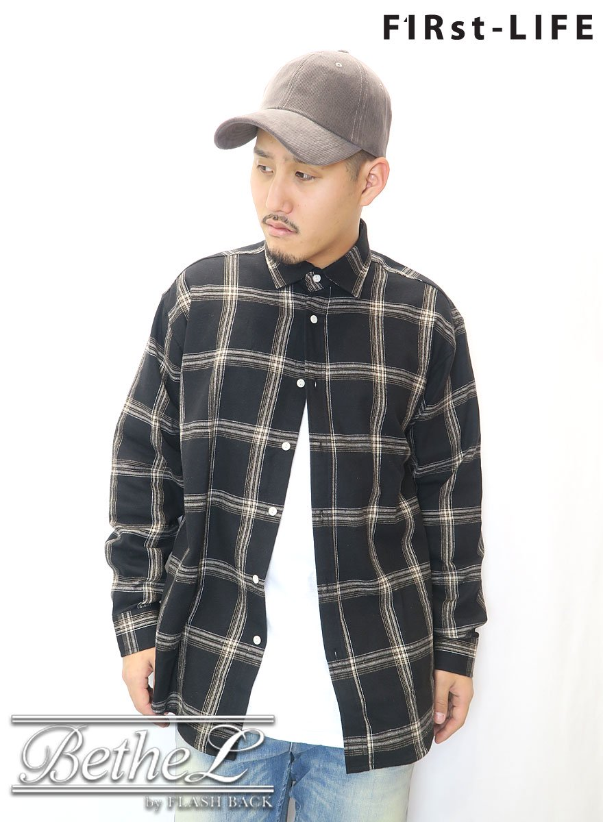 F1Rst LIFE/ファーストライフ OVER SIZE FLANNEL CHECK SHIRT BLACK