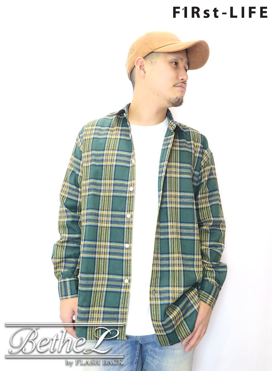 F1Rst LIFE/ファーストライフ OVER SIZE FLANNEL CHECK SHIRT GREEN