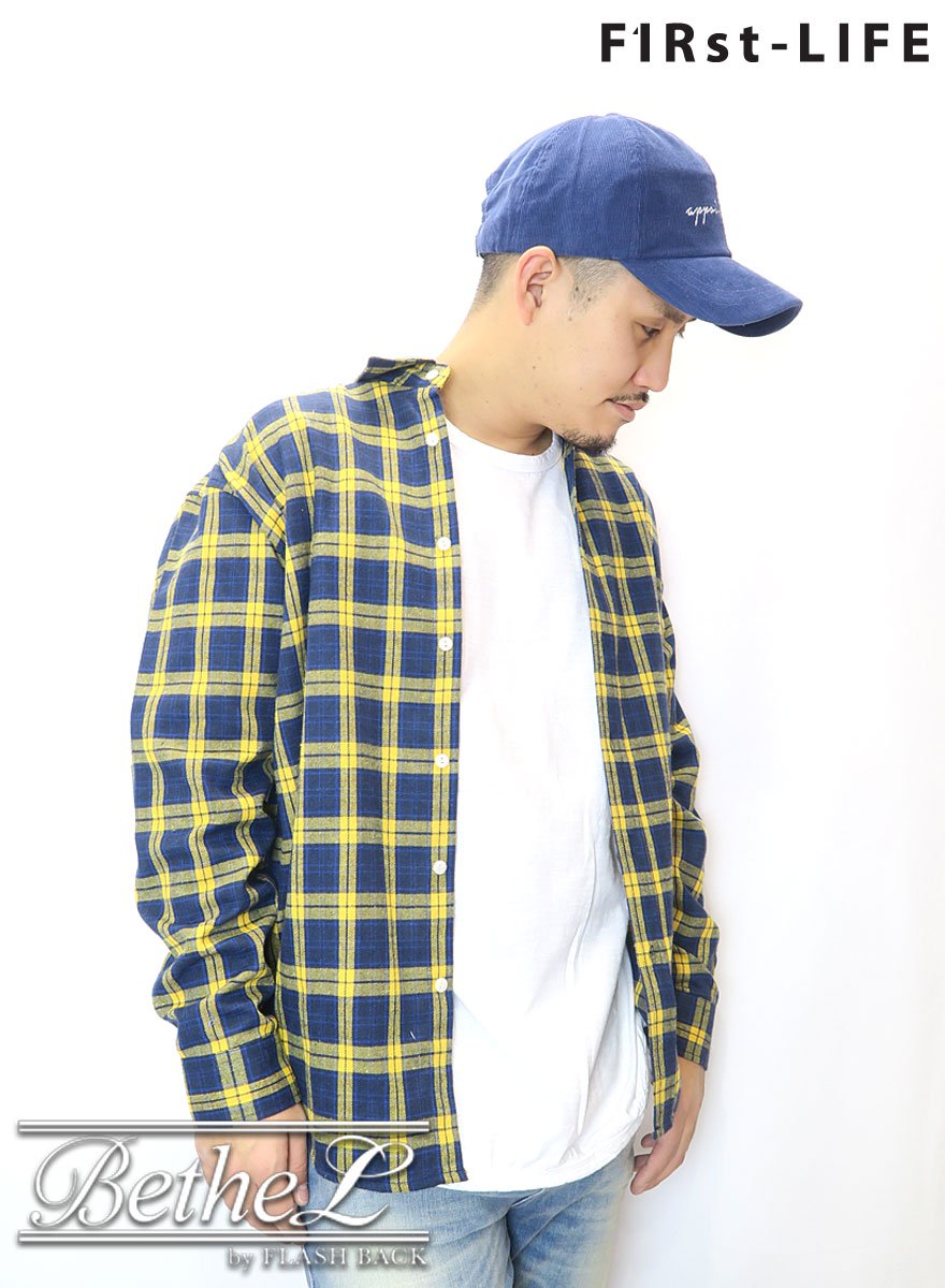 F1Rst LIFE/ファーストライフ OVER SIZE FLANNEL CHECK SHIRT YELLOW