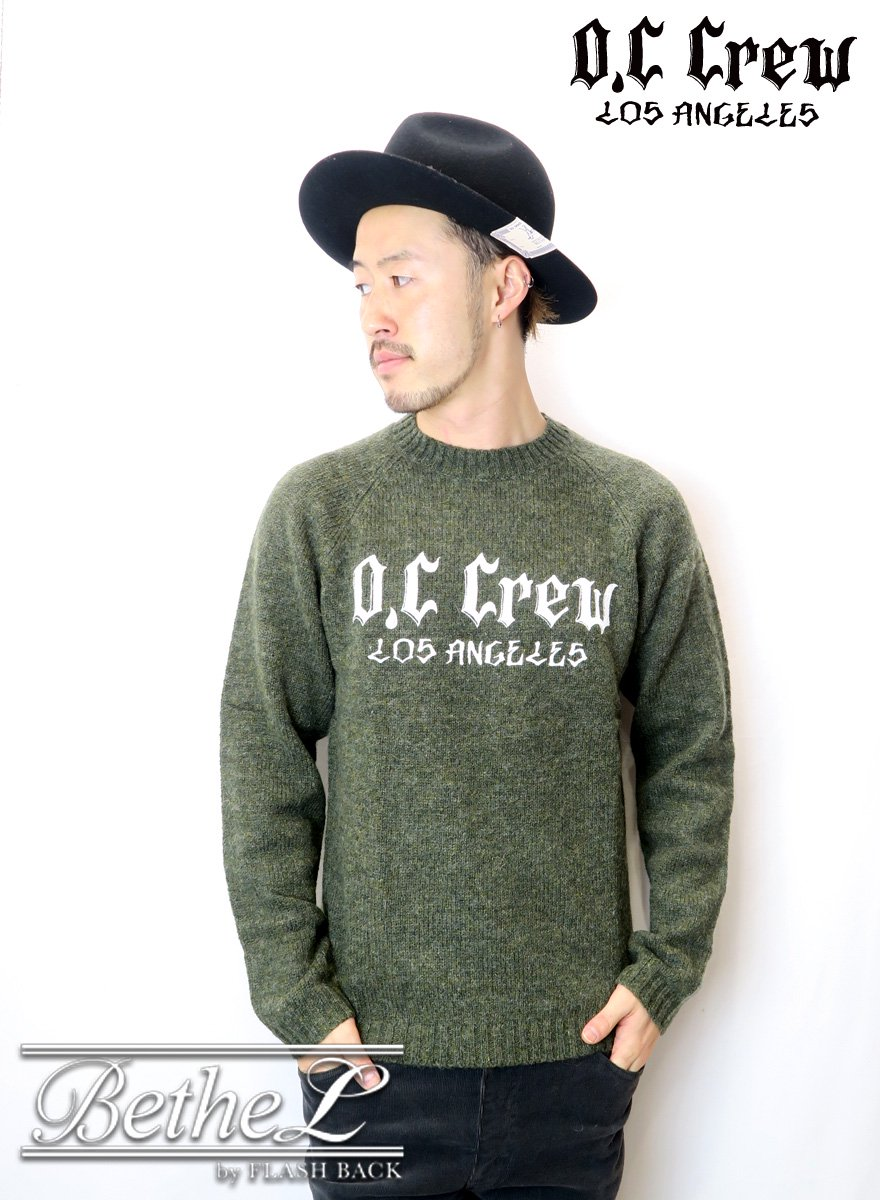 【数量限定別注】O.C CREW/オーシークルー BIG LOGO CREW NECK KNIT OLIVE