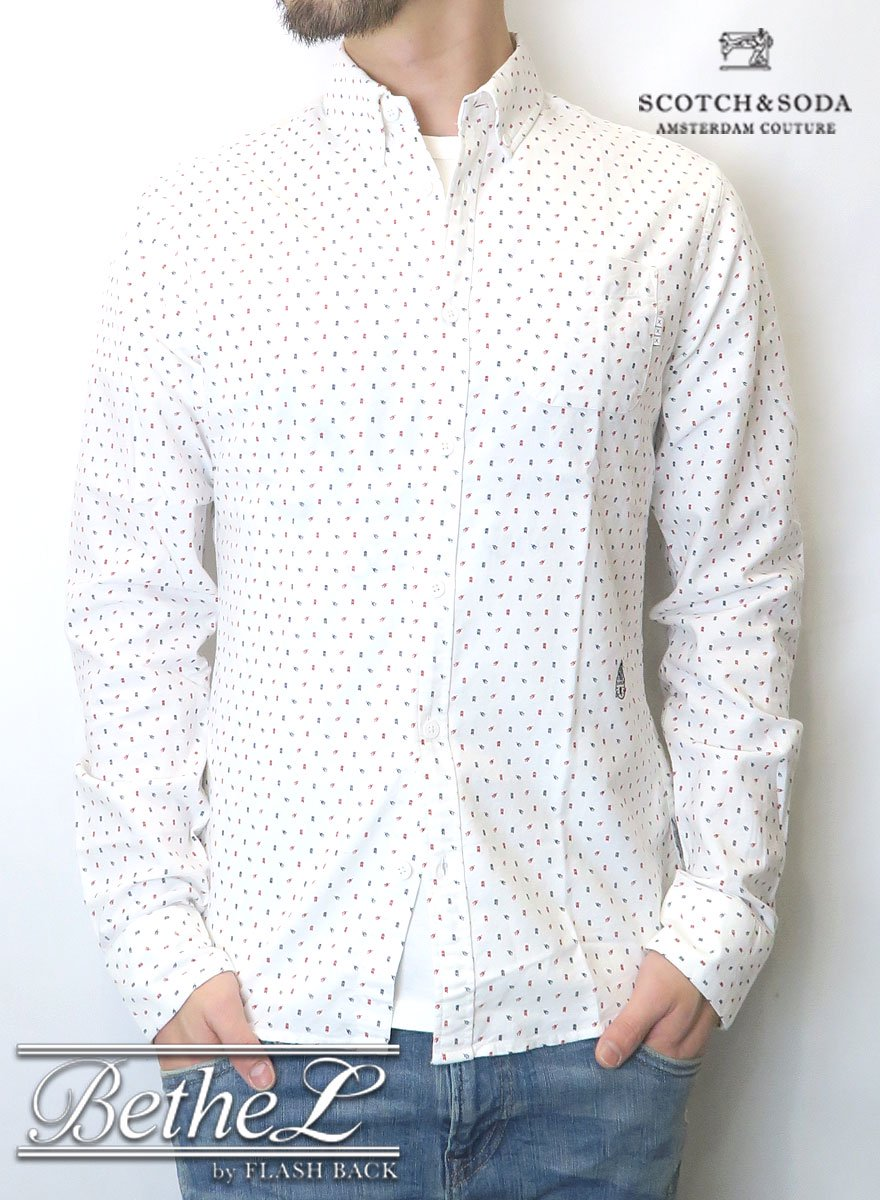 SCOTCH&SODA/スコッチ&ソーダ MINI ART WORK B.D SHIRT WHITE