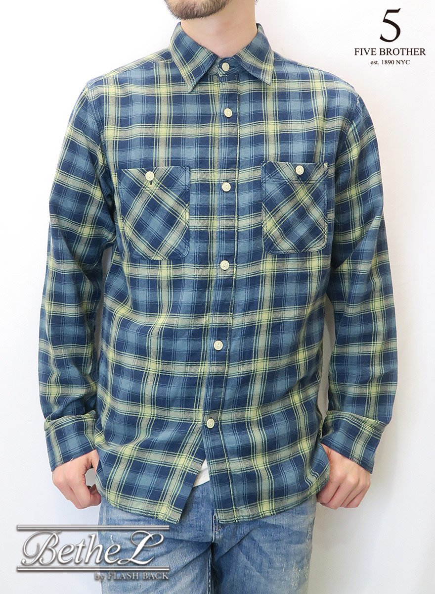 FIVE BROTHER/ファイブブラザー LIGHT FLANNEL WORK SHIRTS DARK BLUE