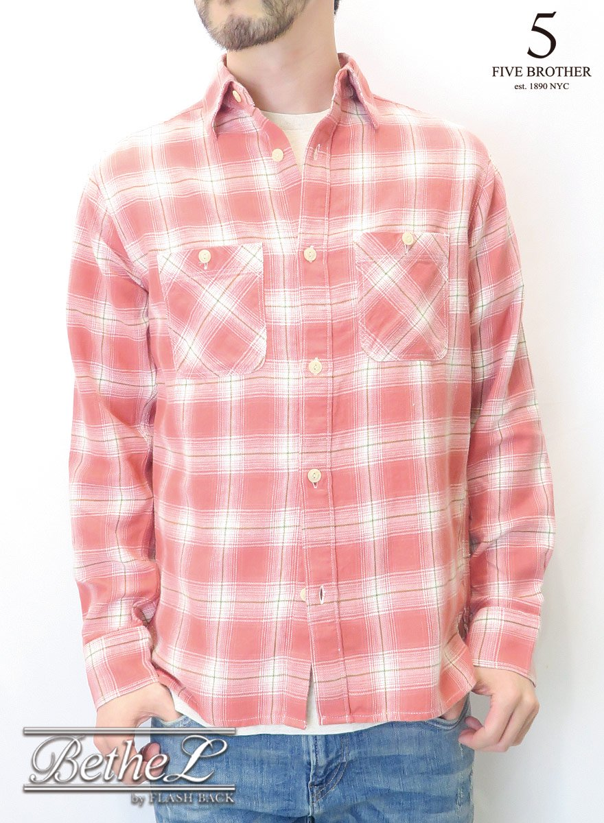 FIVE BROTHER/ファイブブラザー LIGHT FLANNEL WORK SHIRTS RED