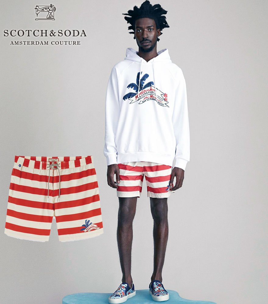 SCOTCH&SODA/スコッチ&ソーダ Mid-length Surf Short With Small Printed Artwork 292-18612 【155129】