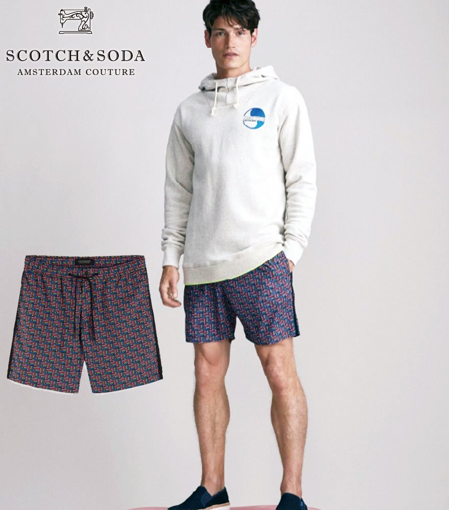 SCOTCH&SODA/スコッチ&ソーダ Mid-length Swim Short With Multicoloured Print 292-18610 【154487】