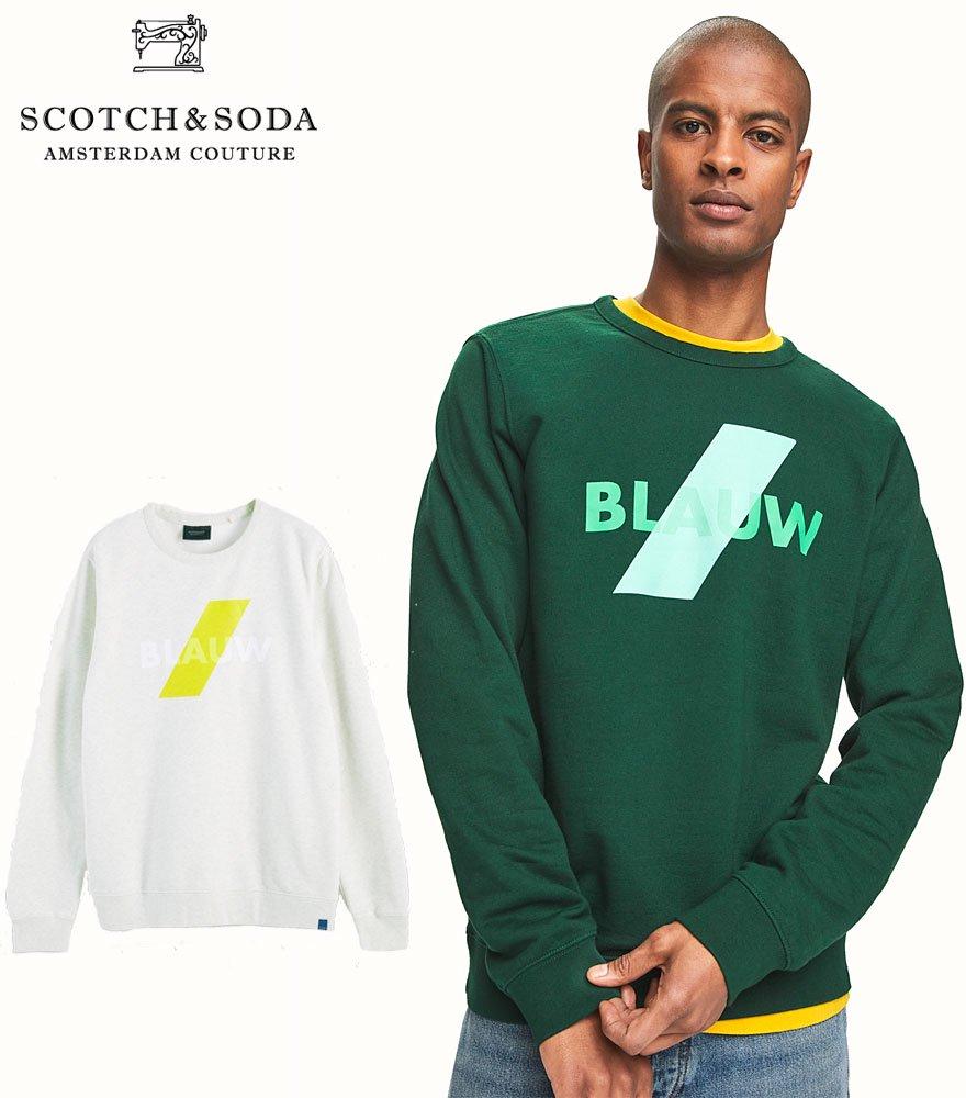 SCOTCH&SODA/スコッチ&ソーダ プリントスウェット cotton Blauw logo crew neck sweatshirt 282-23808【156784】全2色