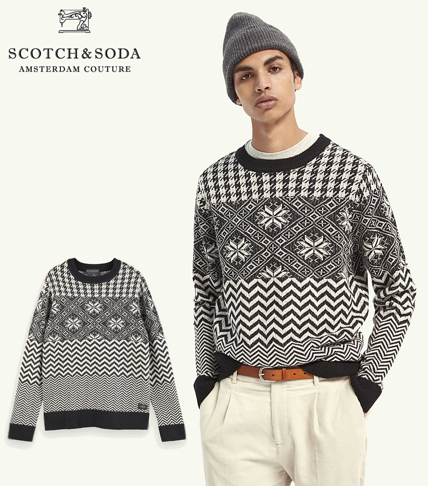 <img class='new_mark_img1' src='https://img.shop-pro.jp/img/new/icons14.gif' style='border:none;display:inline;margin:0px;padding:0px;width:auto;' />SCOTCH&SODA/スコッチ&ソーダ Lightweight wool-blend patterned pullover  292-25412 【158607】