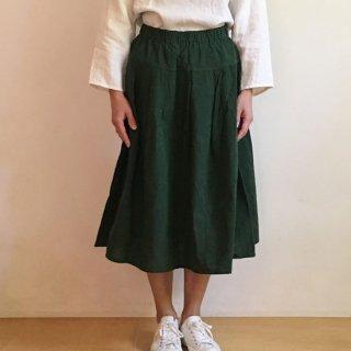 YAMMA 会津木綿のタックスカート グリーン