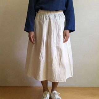 YAMMA 会津木綿のタックスカート オフホワイト