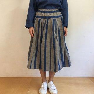 YAMMA 会津木綿のタックスカート ひじり縞