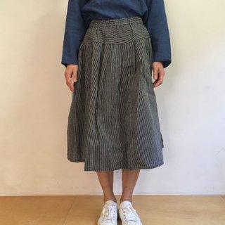 YAMMA 会津木綿のタックスカート ピン縞/黒