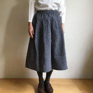 YAMMA 会津木綿のタックスカート 紺スラブ