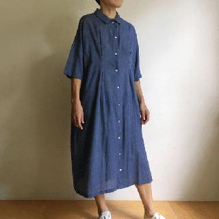 YAMMA カディワンピース(白×ペールブルー)