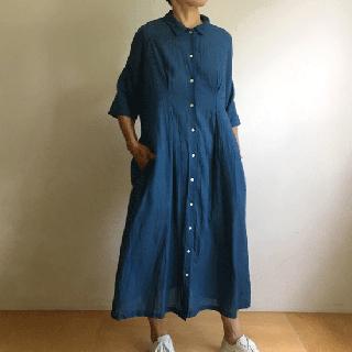 YAMMA カディワンピース(黒×ブルー)