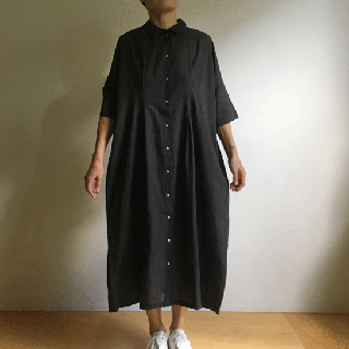 YAMMA カディワンピース(黒×茶)