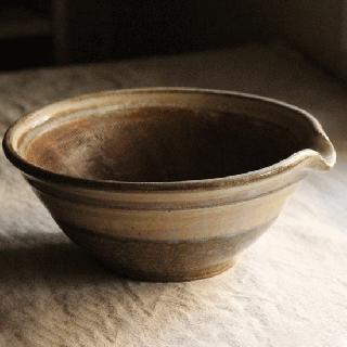 八木橋昇 すり鉢7寸(黄化粧掛け分け)