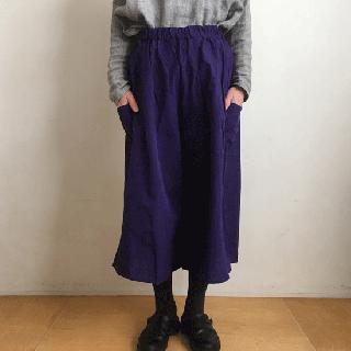 YAMMA 会津木綿のキュロット(ロング丈)パープル