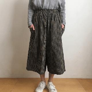 YAMMA 会津木綿のキュロット(ロング丈)棒縞