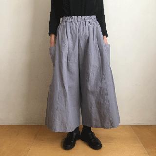 YAMMA 会津木綿のキュロット(ロングロング丈)ライトグレー