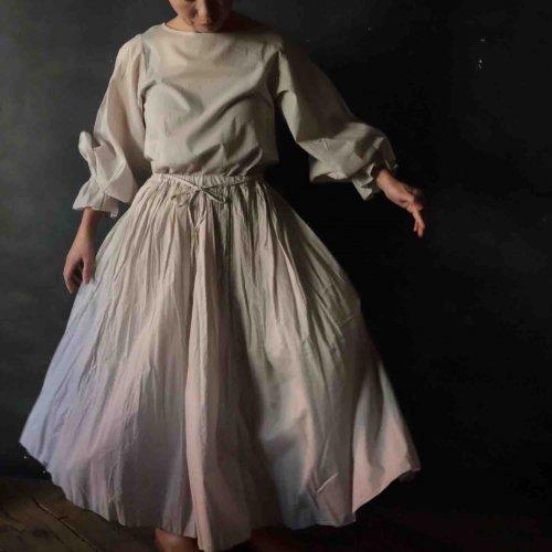 FRANCESCA AMAM LABEL ギャザーロングスカート(ホワイト)