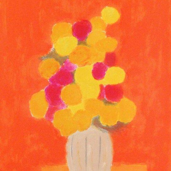 オレンジの背景のバラ【レンタル使用品】