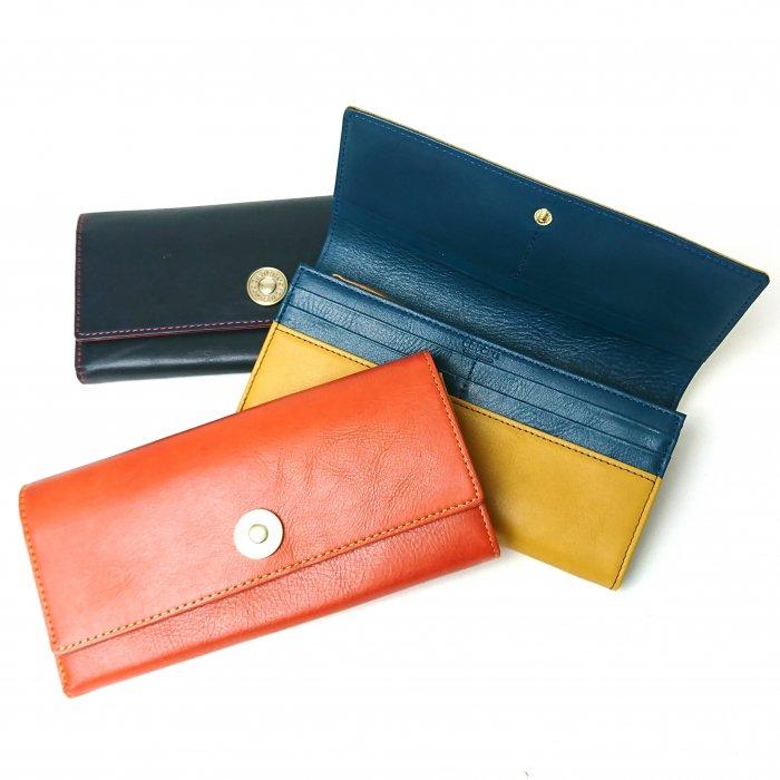 【アウトレット/モニカ】カルクルらしい色使いがキュートな定番の財布 カブセ長財布