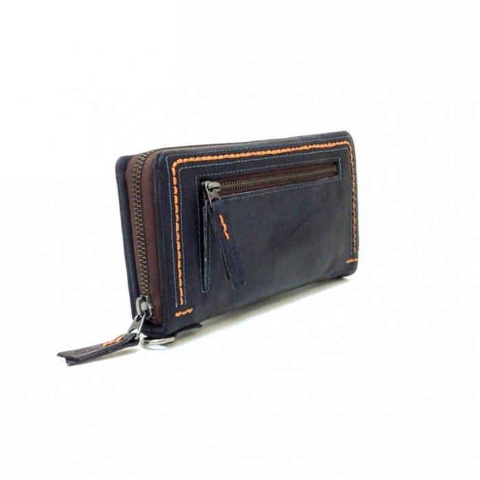 【ザンビアハンドステッチ】クラフト感覚でカラーコンビがおしゃれな財布 ラウンドファスナー長財布