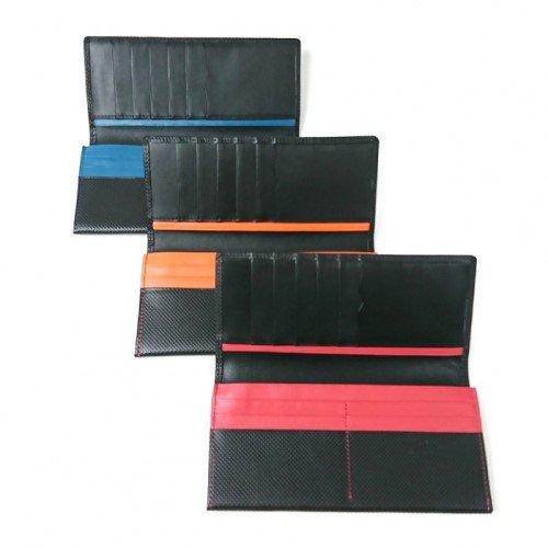 【型押しコンビ】キズが着きにくい革にしっくりと馴染む赤・青・オレンジの差し色がスタイリッシュな財布 カブセ長財布