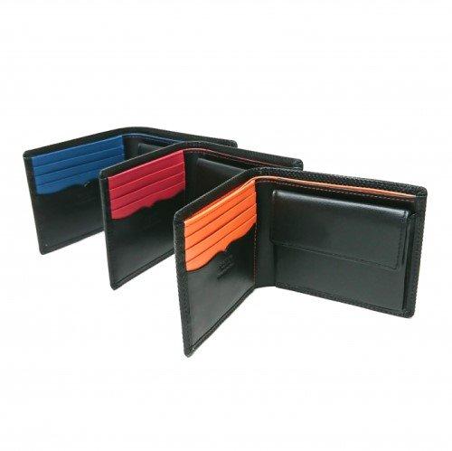 【型押しコンビ】キズが着きにくい革にしっくりと馴染む赤・青・オレンジの差し色がスタイリッシュな財布<br>二つ折り札入れ(小銭入れ付き)
