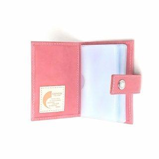 【ドット(日本製)】パステルカラーのレザーに可愛いドットが型押しされたカードケース<br>BOOK型カードケース