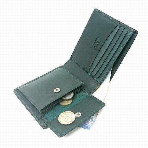 【アウトレット/カーフ】仔牛の革でできたソフトな手触りが特徴の財布 小銭入れ付き二つ折り札入れ