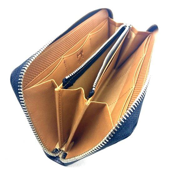 【アリゾナ】イタリアンベジタブルレザーを使った本格化長財布<br>ラウンドファスナー長財布