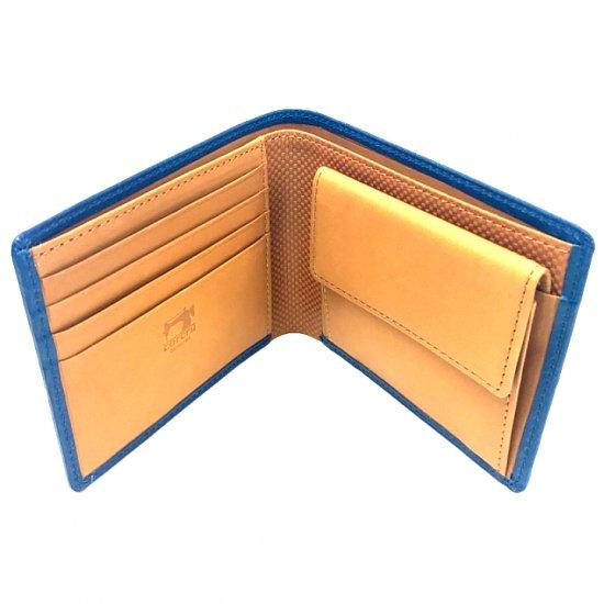 【アリゾナ】イタリアンベジタブルレザーを使った本格化二つ折り札入れ 小銭入れ付き二つ折り札入れ