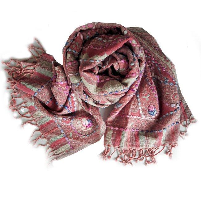 インド 刺繍 ストール ボイル ウール  ピンク