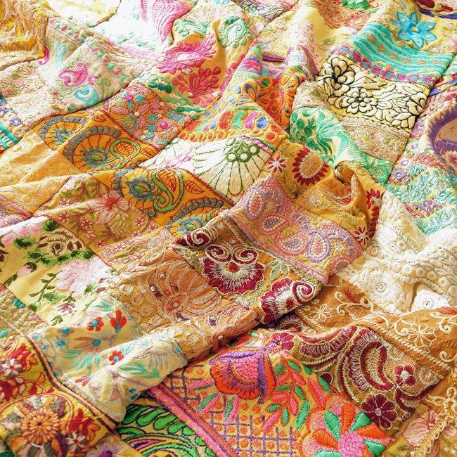 インド 刺繍 パッチワーク ベッドカバー イエロー系