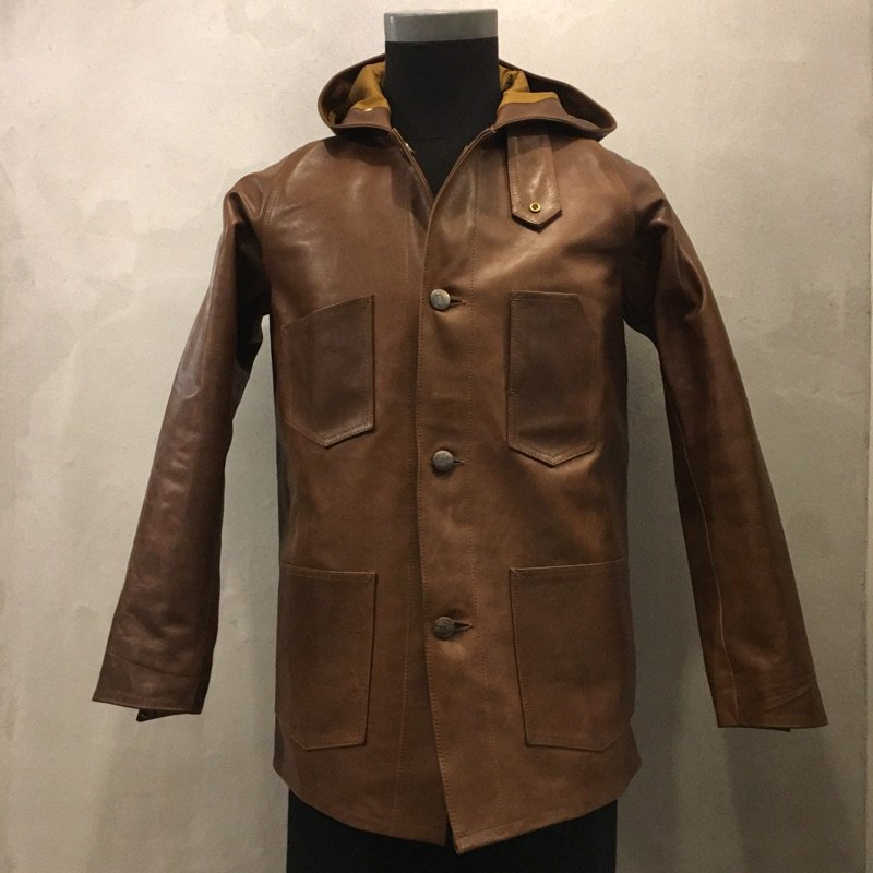 "BAA COSTUME MFG. ""HORSE LEATHER RAIL ROADER HOODIE COAT"""