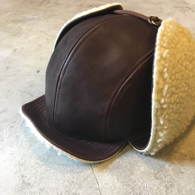 "BAA COSTUME MFG. ""LEATHER BOMBER CAP"" BROWN HORSEHIDE"