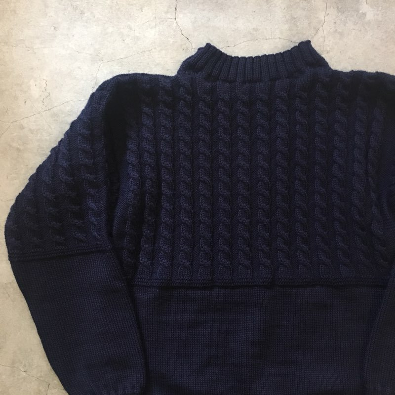 "Guernsey Woollens 別注    ""VINTAGE ROPE TRADITIONAL""    GUERNSEY SWEATER    NAVY"