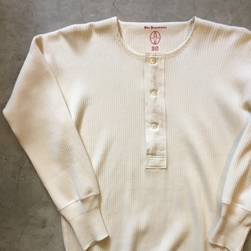 "OLDE HOMESTEADER      ""HENLEY NECK L/S SWEDISH ARMY RIB""      IVORY"