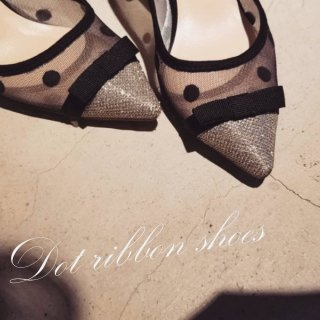 Dot ribbon shoes Flat/7cm/10cm