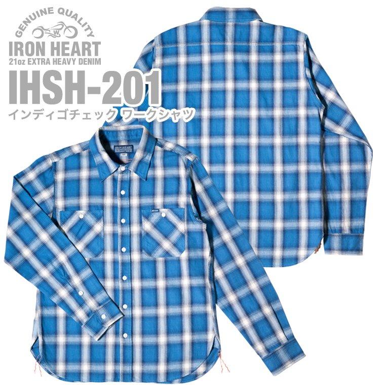 インディゴピンストライプ シャンブレー半袖ウエスタンシャツ IHSH-146 IRON HEART 7オンス